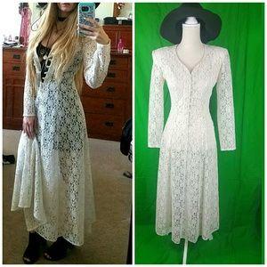Dresses & Skirts - Vintage Lace Maxi Dress Festival Grunge size 3/4